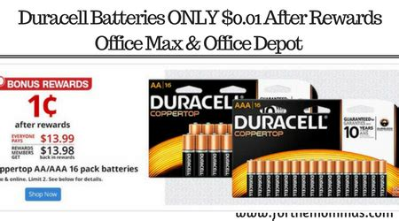 Office Max Rewards by Duracell Batteries Only 0 01 At Office Depot Officemax