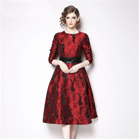 Jacquard Vintage Long Sleeve Party Dress Power Day Sale