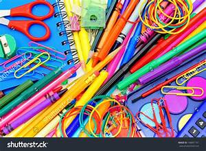 Full Background Colorful Assortment School Supplies Stock ...