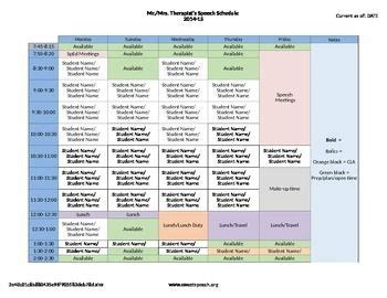 Slp Exle by Speech Therapy Schedule Template Speech Therapy