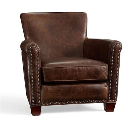 Pottery Barn Irving Chair Recliner by Irving Leather Armchair With Nailheads Pottery Barn
