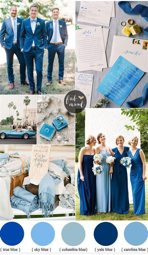 Mismatched blue bridesmaid dresses for a blue wedding