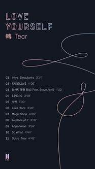 BTS - Love Yourself: Tear - Album Tracklist - Syndicasian