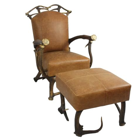 brown leather chair with ottoman brown leather and red stag antler chair with matching