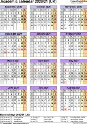 academic calendars  uk  printable word templates