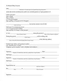 minor children travel consent letter  child sample