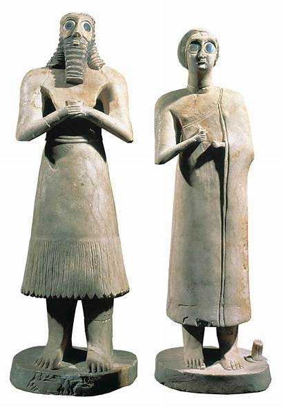 Votive Eshnunna Figurines Figures Mesopotamia 2700 Statues