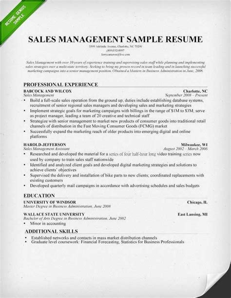 sales manager resume sle writing tips sales manager