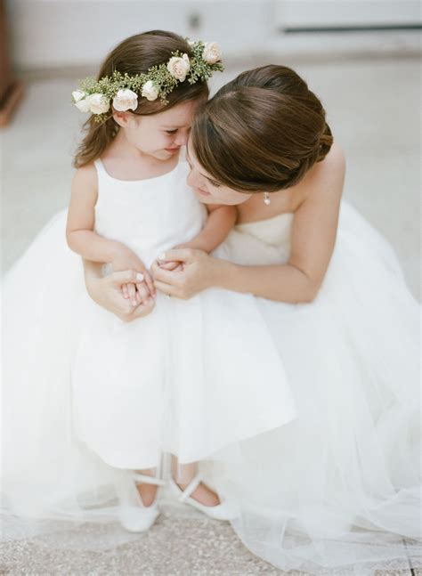 white flower girl dress  rose  eucalyptus crown