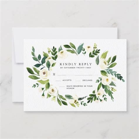 Vintage Floral Greenery Garden Wedding RSVP Cards Zazzle