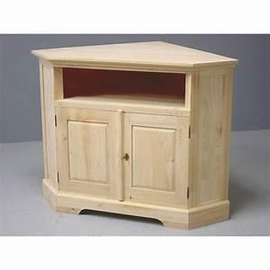 Meuble Angle Bois : meuble tv d 39 angle bois brut ~ Edinachiropracticcenter.com Idées de Décoration