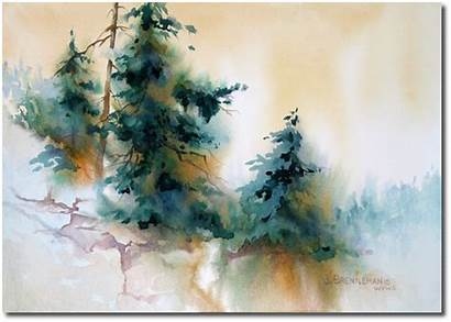Watercolor Landscape Trees Paintings Christmas Painting Watercolour