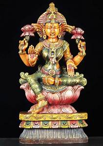 Sold, Wood, Hindu, Goddess, Lakshmi, Statue, 24, U0026quot, 65w13y, Hindu, Gods, U0026, Buddha, Statues