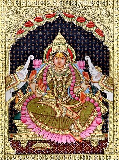 Painting Lakshmi Indian Devi Tanjore Paintings South