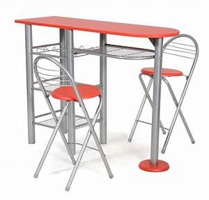 Table De Bar Et 2 Chaise Rouge Alma LesTendancesfr