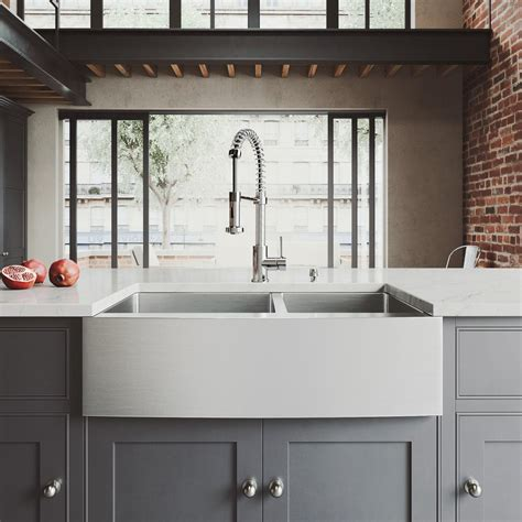 stainless steel sinks for kitchen vigo all in one farmhouse apron front stainless steel 33 8295