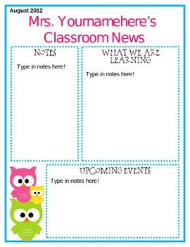 Free Editable Newsletter Templates by Editable Owl Themed Newsletter By Middle Grades Maven Tpt