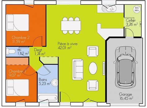 plan maison 2 chambres plain pied gratuit