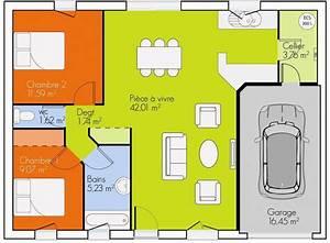 plan maison 2 chambres plain pied gratuit With plan maison gratuit plain pied 3 chambres