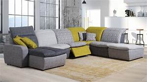 Canapé D Angle Modulable : grand canap d 39 angle modulable relax lectrique tissu art ~ Melissatoandfro.com Idées de Décoration