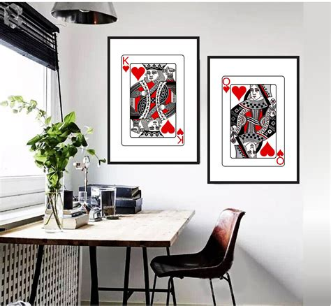 I'm glad your king of hearts isn't trying to kill himself. Playing Cards His Hers King Queen of Hearts Wall Art Print ...