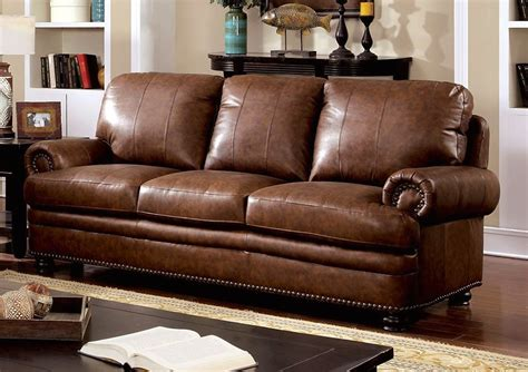 Leather Loveseat With Nailhead Trim by Arther Traditional Brown Sofa In Top Grain Leather