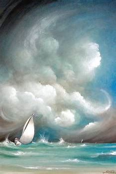 Sailboat in Stormy Sea by Susi Galloway
