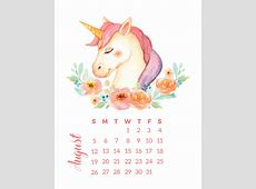 Free Printable 2018 Watercolor Unicorn Calendar The