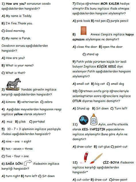 Testi Coez 4 S箟n箟f Ingilizce Testleri