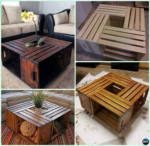 Diy wood crate coffee table free plans instructions for Homemade furniture instructions