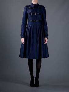 burberry toggle coat in navy blue lyst