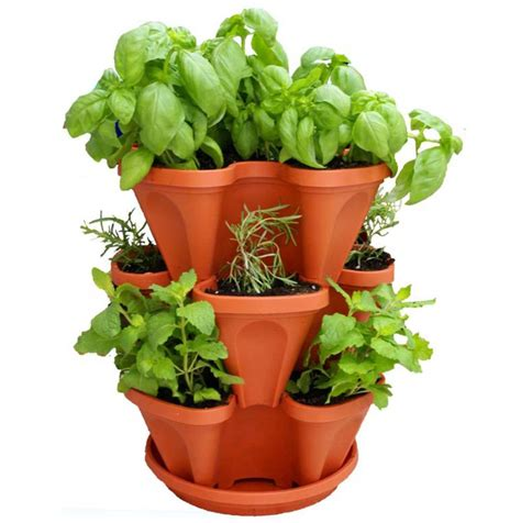 indoor outdoor stackable herb garden planter