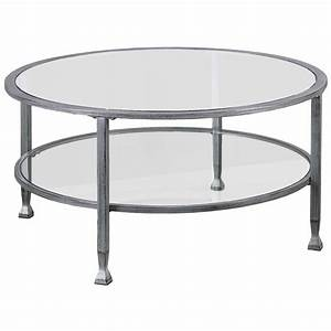 southern enterprises jaymes round glass top coffee table With round glass silver coffee table