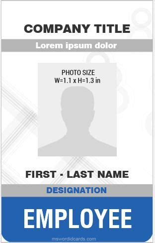 employee id card template vertical design ms word