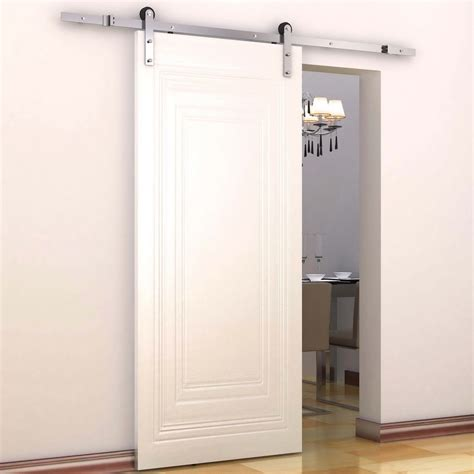 homcom modern sliding barn door closet hardware track kit