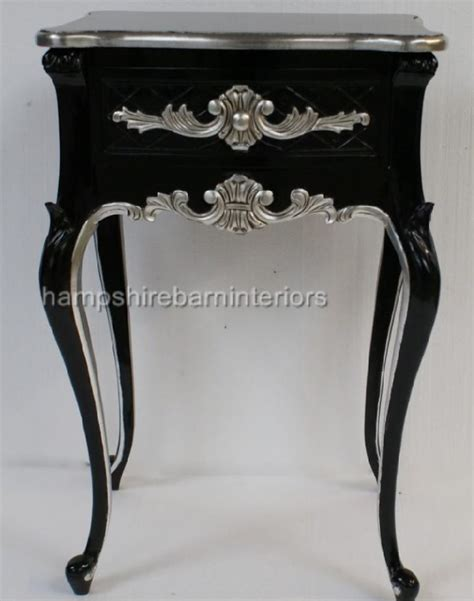beautiful  drawer ornate black silver side cabinet
