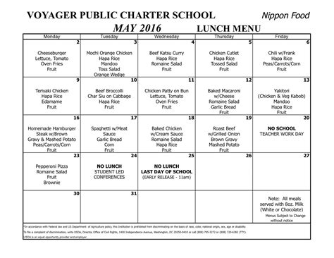 lunch menu voyager public charter school