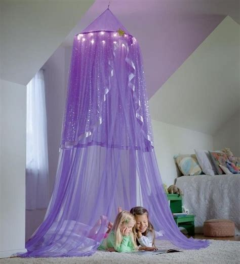 purple lighted canopy  girls room ideas princess