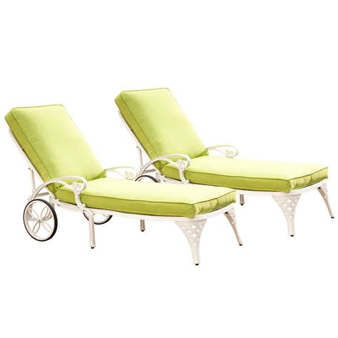 home styles biscayne white patio chaise lounge with green
