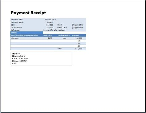 ms excel payment receipt template collection  business