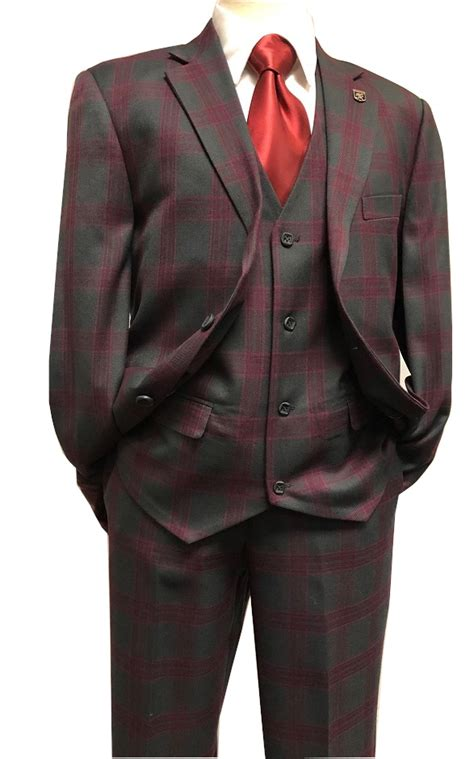 Stacy Adams Charcoal Wine Plaid 1920s 3 Piece Suit Bud ...