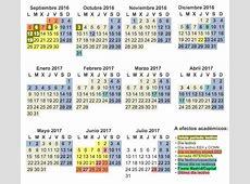 Calendario escolar del curso 20162017 de la Comunidad de