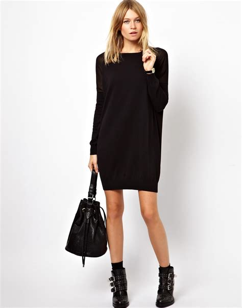 Lyst - Asos Jumper Dress with Sheer Woven Inserts in Black