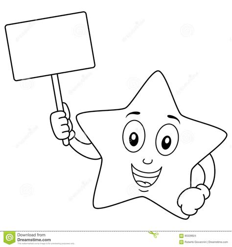 coloring star character holding blank sign stock vector