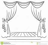 Stage Sketch Curtain Theater Coloring Credit Larger sketch template