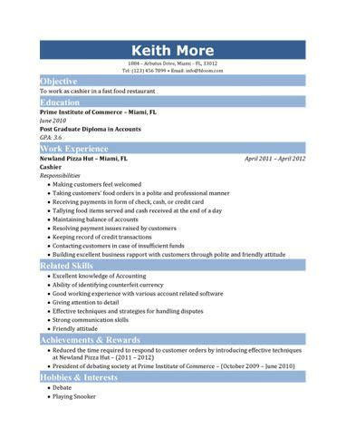 Cashier Sle Resume by Resume For Fastfood Fast Food Cashier Resume Places To