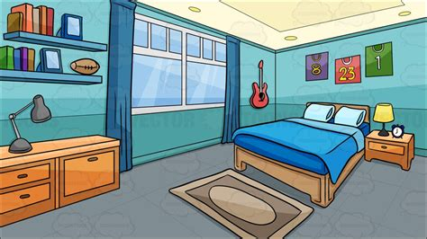 Cartoon Clipart A Bedroom Of A Boy Background