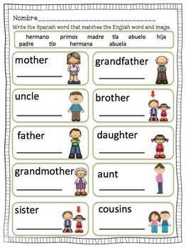 familia spanish family members worksheets flashcards
