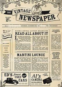 vintage newspaper layout design template stock vector art With paper ad design templates