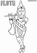 Flute Coloring Printable Template Adult sketch template